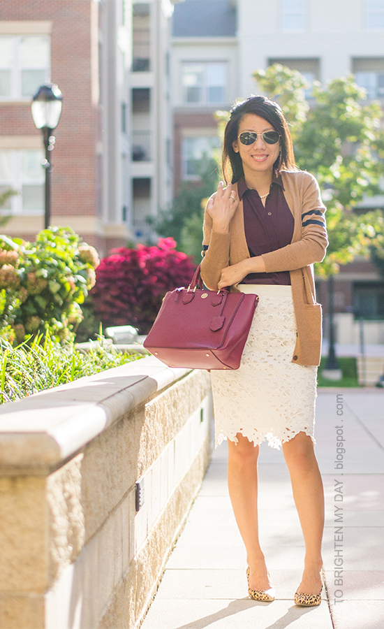 camel cardigan, burgundy top, lace pencil skirt, leopard pumps, purple red tote