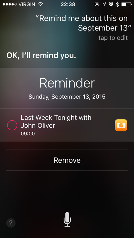 Remind me about this in Siri