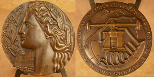Art Deco Medal Honoring Paris Mint Workers