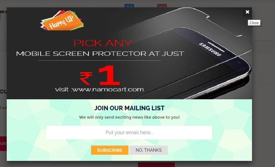 Namocart mobile screen protector 1 rupee offer