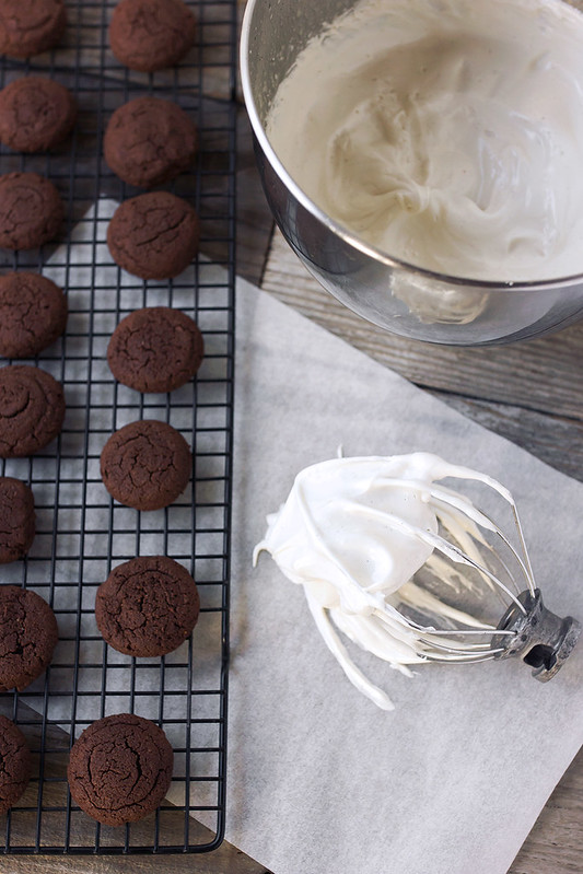 Grain-free Mini Chocolate Whoopie Pies with Vanilla Bean Marshmallow Cream