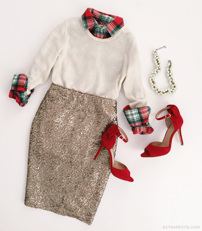 office holiday party work outfit sequin skirt