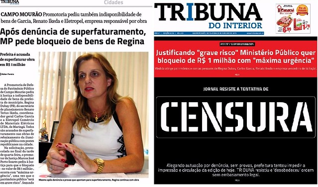 regina dubay censura tribuna do interior