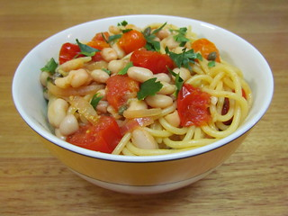Santorini-Style Spaghetti with Lemon, Capers and Tomatoes