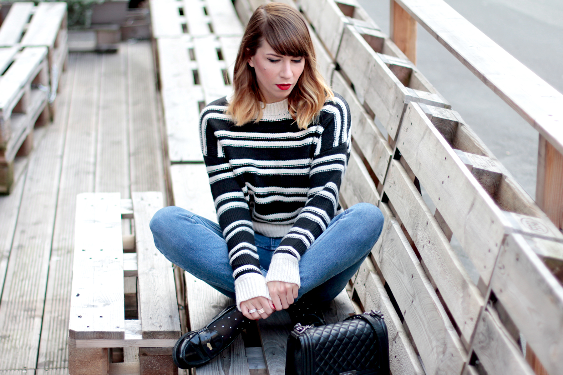 gant penny loafers h&m striped knit breton bretagne parisian style chanel le boy bag tailor swift style cute girl ricarda schernus fashionblogger cats & dogs blog1