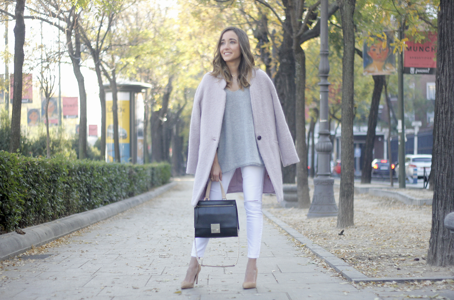 Tintoretto Pink Coat white jeans grey sweater outfit13