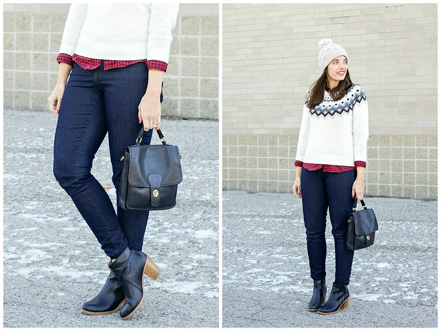 old navy fair isle sweater, Loft jeans, buffalo plaid shirt, pom pom beanie Target; winter casual style