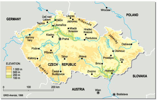 Czech Republic, topographic map | GRID-Arendal