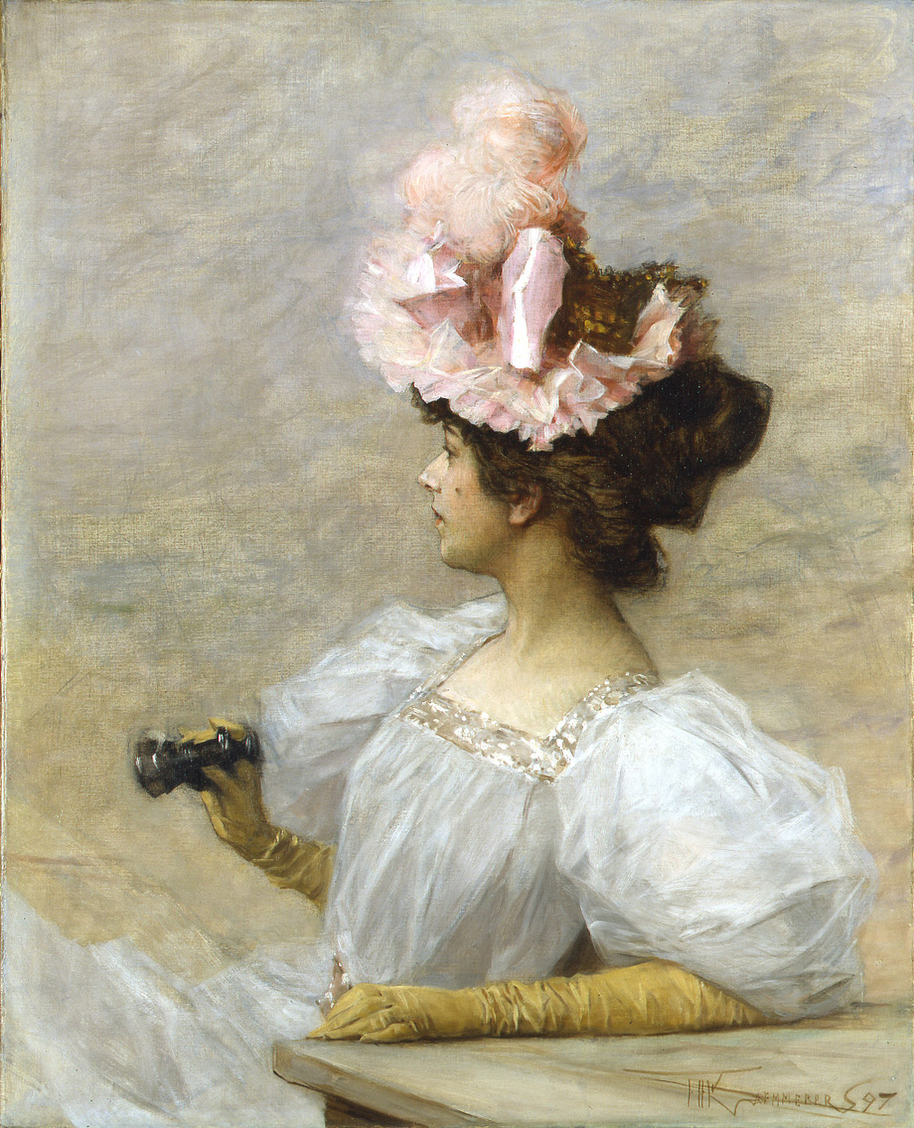 Woman with Opera Glasses by Frederik Henrdik Kaemmerer