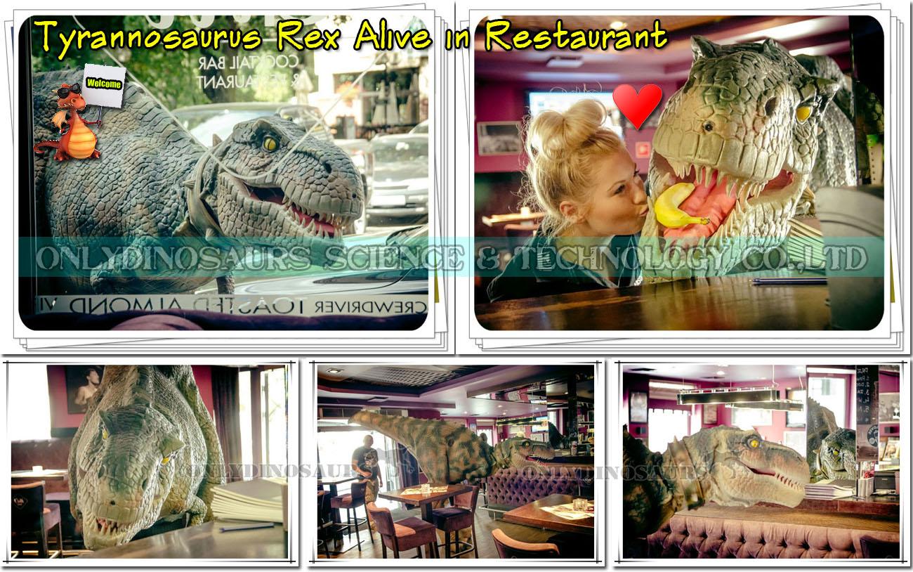 T-Rex Alive in Restaurant