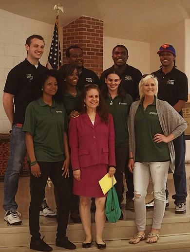 Members of Wilmington University Student United way include: (top row L-R) Joe Cahill, Dana Twymon, Gabriel Rollins, Carlan Edwards, (bottom row L-R) Latasha Shorter, Shekinah Reynolds, Rhonda Denny, Sachi Kaskel and Shannon Kappler.