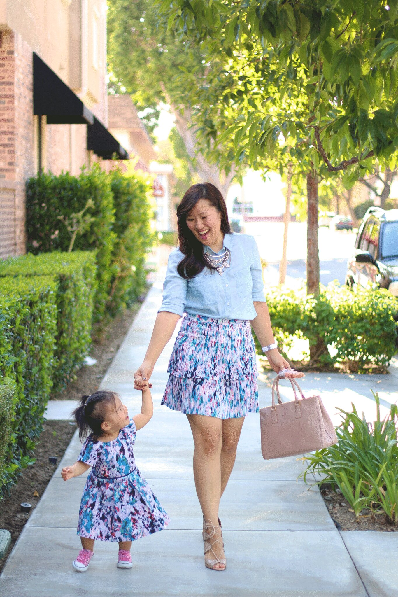 simplyxclassic, mommy and me, jcrew, crewcuts, floral skirt, floral print, floral dress, chambray top, prada bag, mommy blogger, fashion, bauble bar, orange county