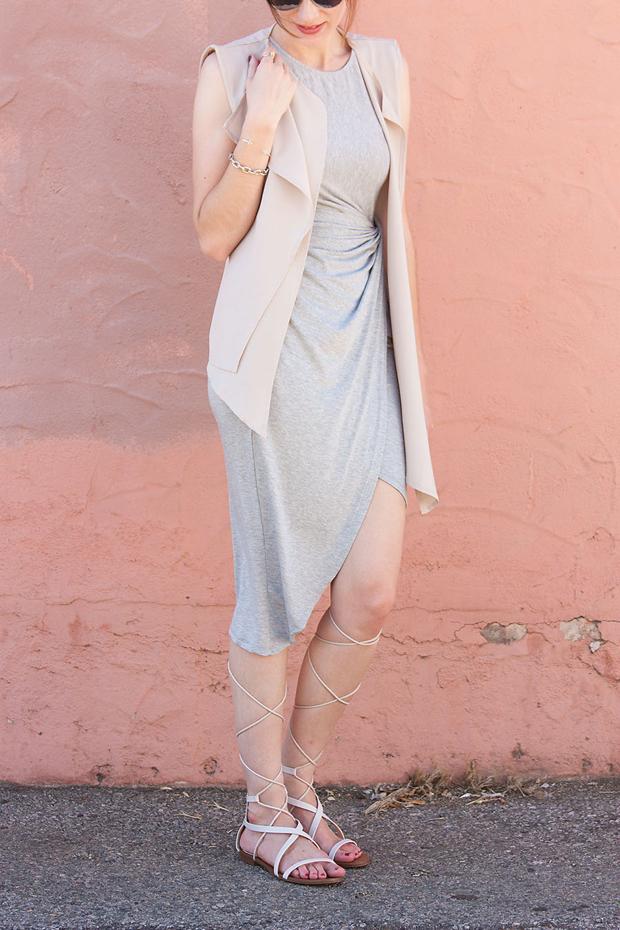 Neutral Outfit, Grey Midi Dress, Neutral Sleeveless Dress