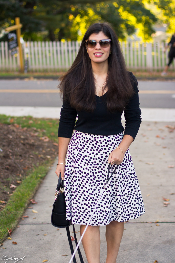 black and white Dalmatian print skirt, black top, red pumps-1.jpg