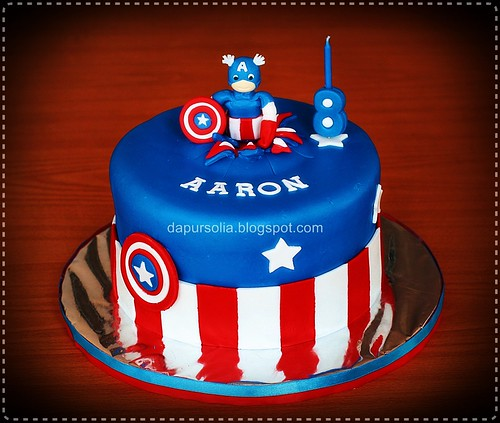 Captain America Cake for Aaron 8 y.o.