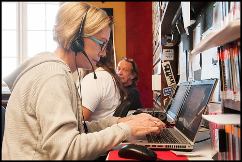 The phone bank at WWOZ Fall Fund Drive 2015 day 10. Photo by Ryan Hodgson-Rigsbee - www.rhrPhoto.com