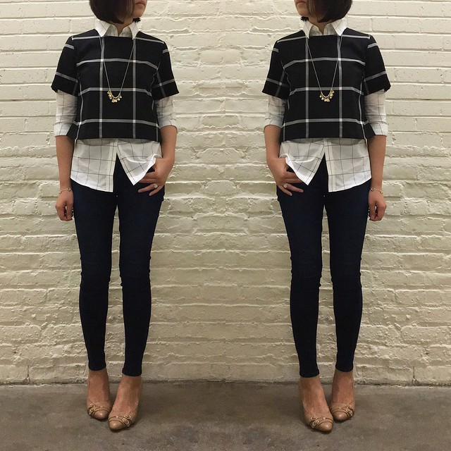 Banana Republic Check Cropped Top