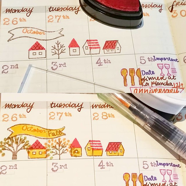 Adding some fun decoration to the days of the month before. This is Aki in combination with Daily stamps by @_sakuralala_ #plannerlove #plannerlife #memento #rubberstamps #travelersnotebook #midori #fountainpen #visconti #colorcoordination #365stamps #sak