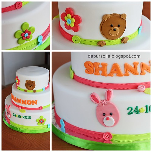 Bear and Rabbit Cake for Shannon 1st Birthday