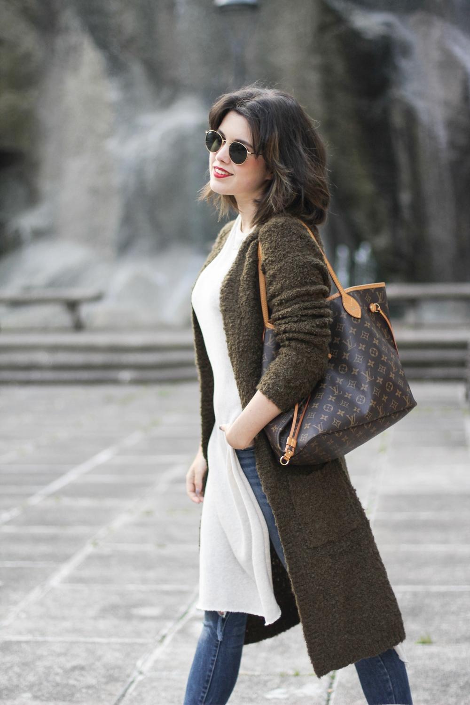 gafas redondas rayban en look cardigan largo tendencia myblueberrynightsblog