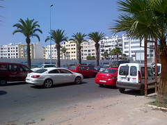 Taxis, palms, and white balconies