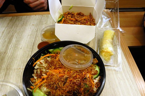 BBQ pork salad, prawn & pork papaya salad