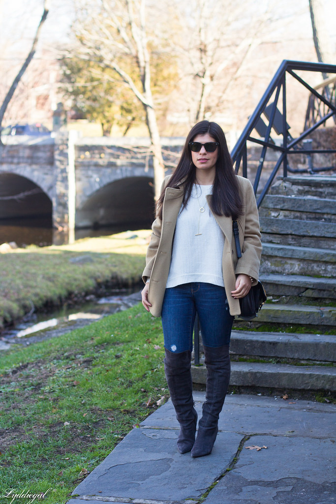 camel coat, white sweater, over the knee boots.jpg