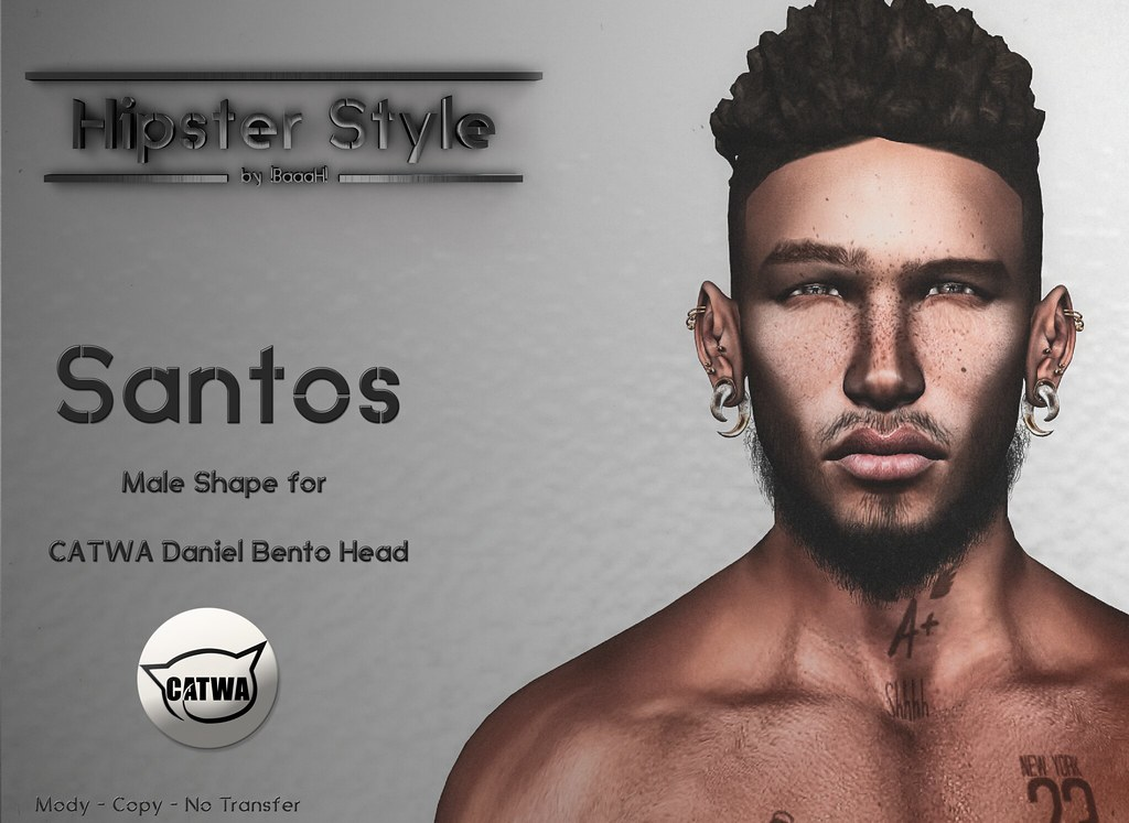 [Hipster Style] Santos Male Shape for CATWA Daniel Bento Head - SecondLifeHub.com
