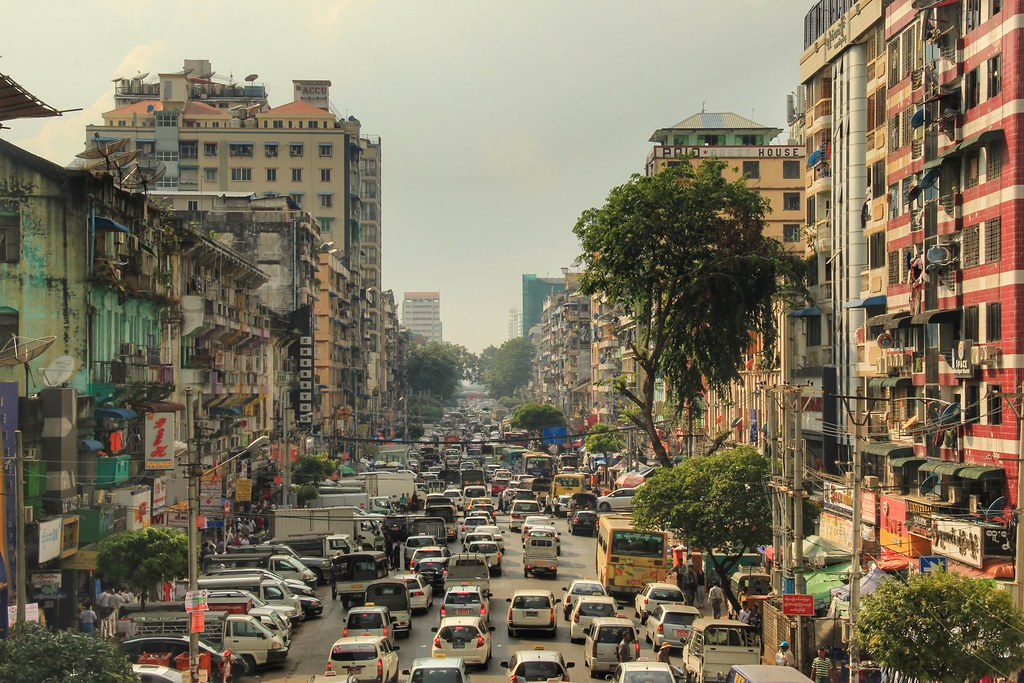Streets of downtown Yangon