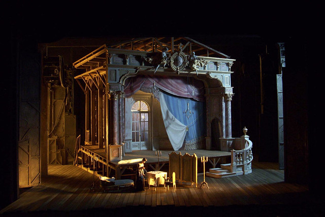 Model photograph of Adriana Lecouvreur showing Act II, The Royal Opera © Charles Edwards