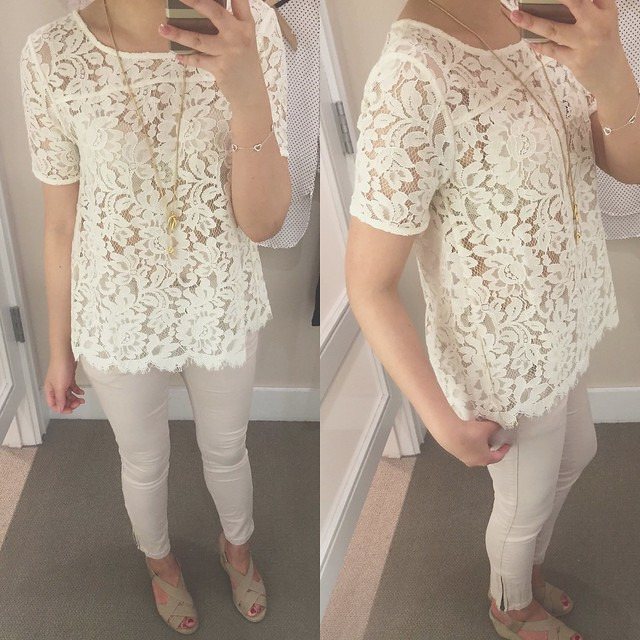 LOFT Lace Tee in whisper white, size XSP