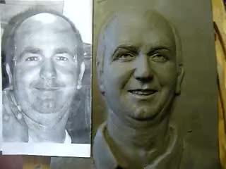 fase conclusive realizzazione ritratto in scultura