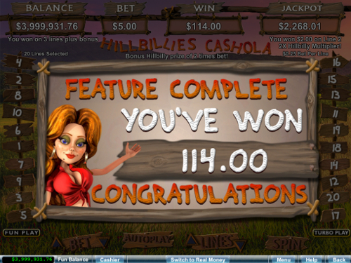 free Hillbillies Cashola slot free spins win