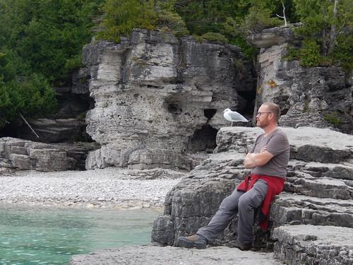 Bruce Peninsula NP - Indian Head Cove - Ger met meeuw