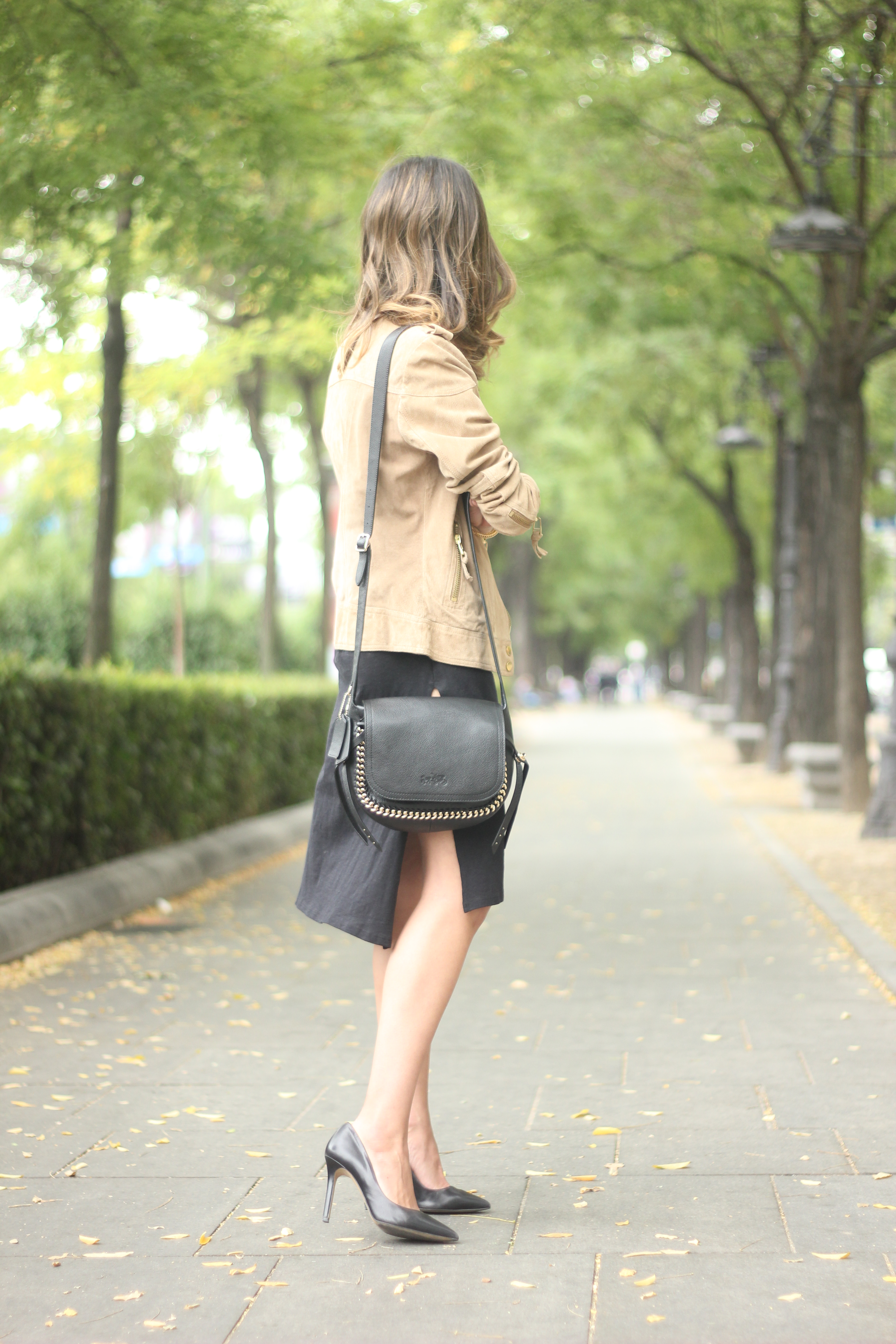 Suede Jacket Black Dress Coach Bag style fall outfit autumn01