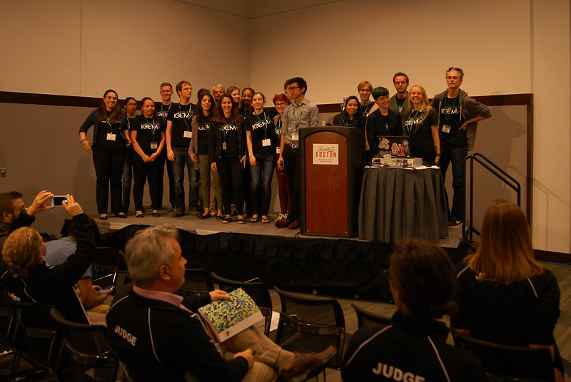 Squad crowding the podium after the presentation