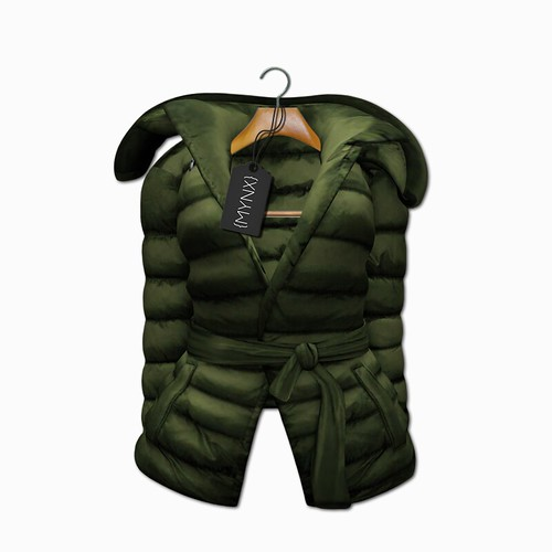 {MYNX} Puffy Tie Jacket - Olive Ad