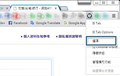 進入 IE Tab 的 [選項] 頁面