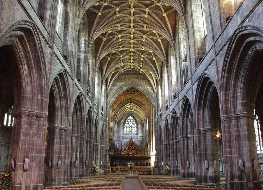 Chester Cathedral - The building of the nave, begun in 1323, was halted by plague and completed 150 years later. Credit: Michael Beckwith