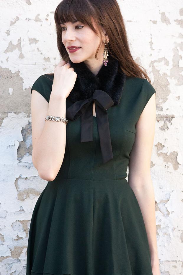 Green Holiday Dress, Black Fur Collar
