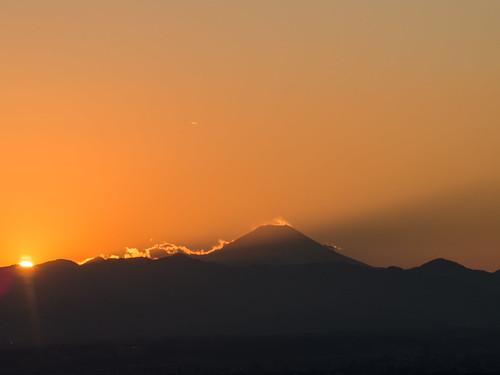 Sinking sun, and Mount Fuji