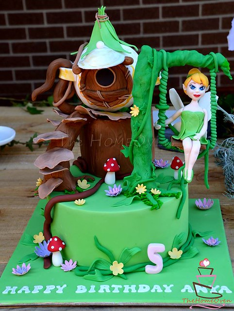 Tinkerbell with Her Tree House Cake by Thehomeoven