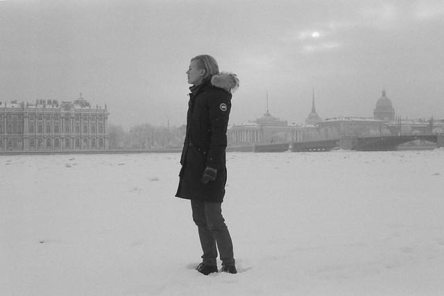 At frozen Neva river, Saint-Petersburg