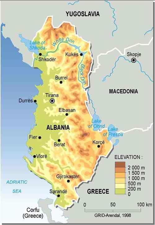 albania topographic map gridarendal