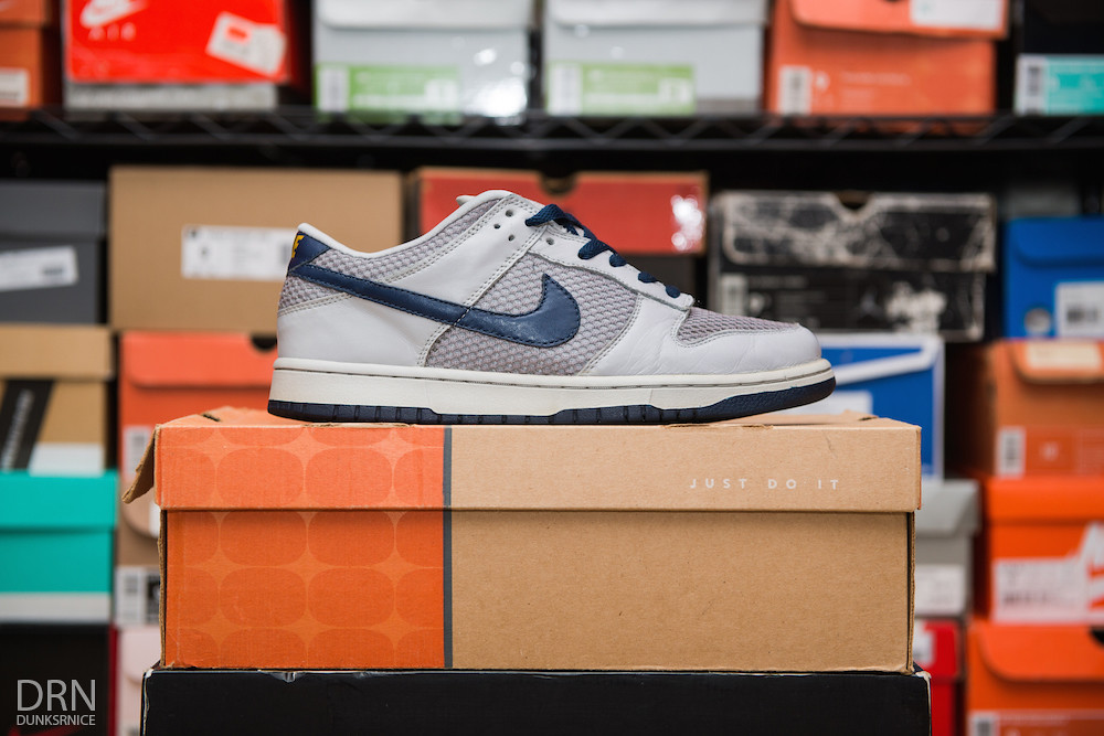 Grey & Navy Netting Dunk Lows.
