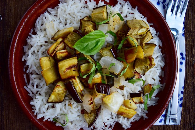 Roasted Eggplant Rice Bowl