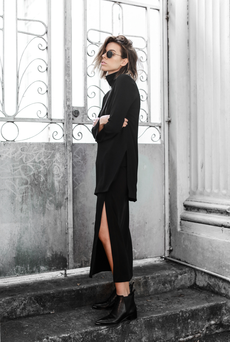 Ellery high neck top, split midi skirt, Acne Jensen boots, all black street style, monochrome, modern legacy, fashion blog, editorial (1 of 1)