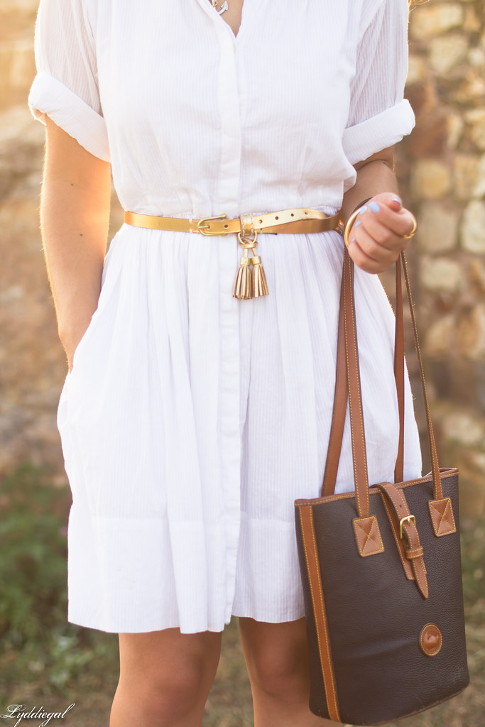white shirt dress, gold tassel belt, brown sandals-11.jpg