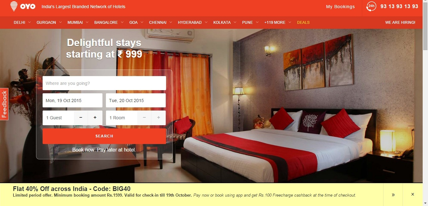 OYO Rooms Coupon codes, discount,offers,promo code