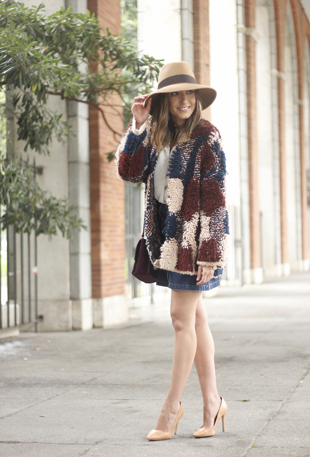 Cardigan Denim Skirt Camel Hat Burgundy Bag outfit03